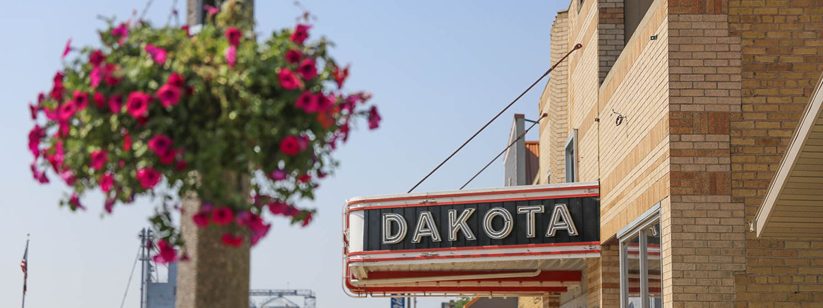 dakota sign on main street in crosby north dakota
